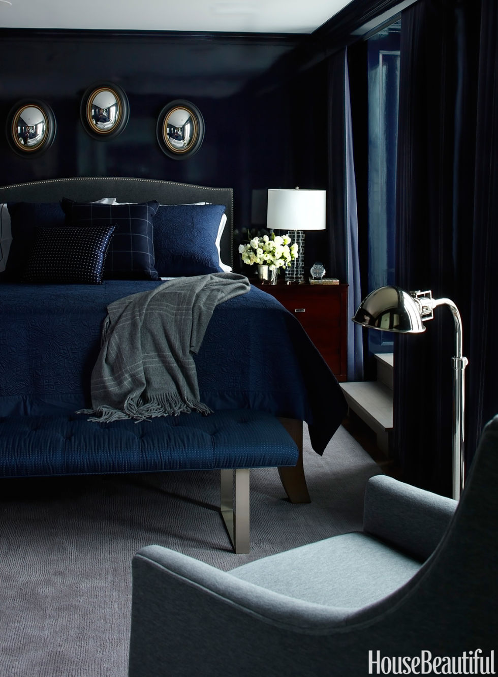 Dark blue and black bedroom - Dark Paint Color Rooms Decorating With Dark Colors