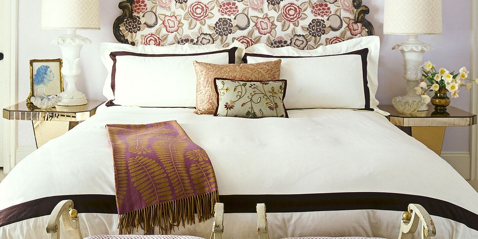 antique headboard - Red And White Bedroom Decorating Ideas