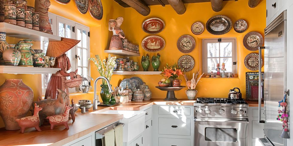 yellow kitchen with santa fe style - southwest kitchen decor