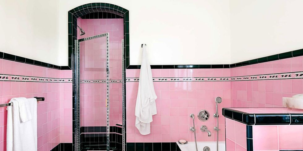 Bathroom With Colorful Tile 1930s Bathroom Design