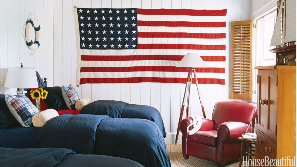 Red White And Blue Room patriotic decor for 4th of july - red, white, and blue decorating