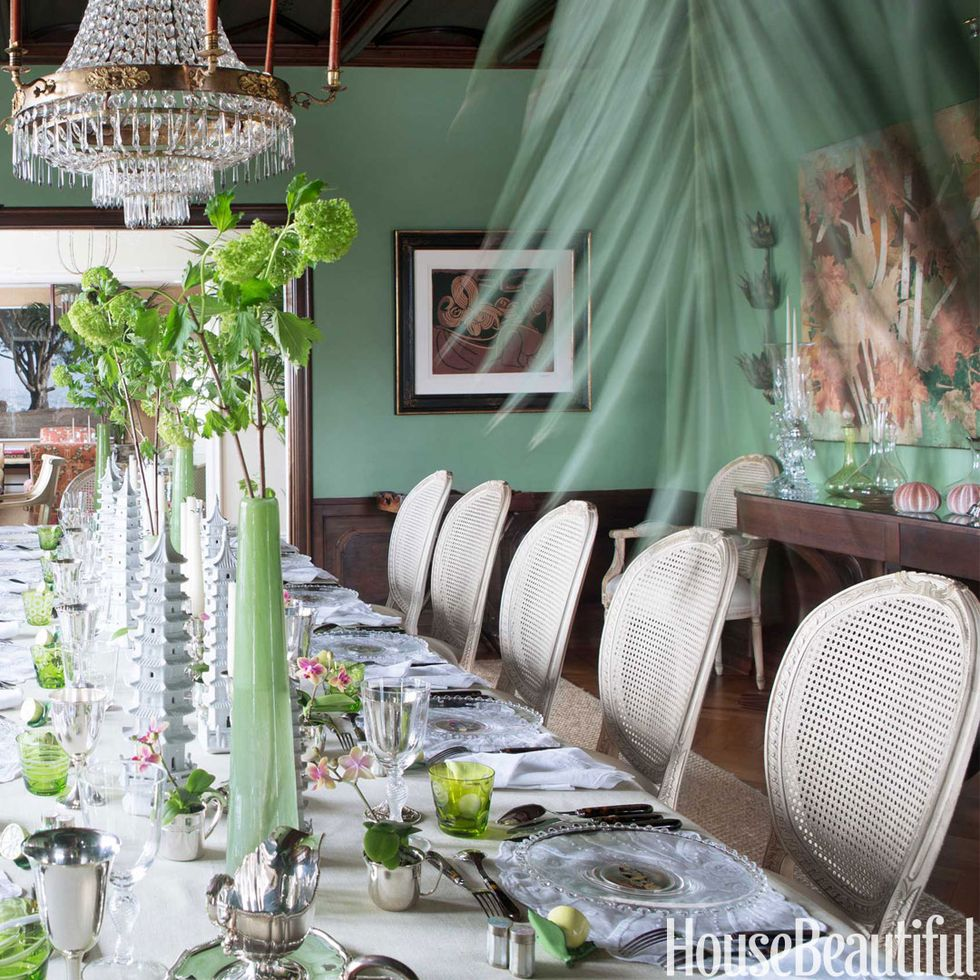 Green dining room design - Green