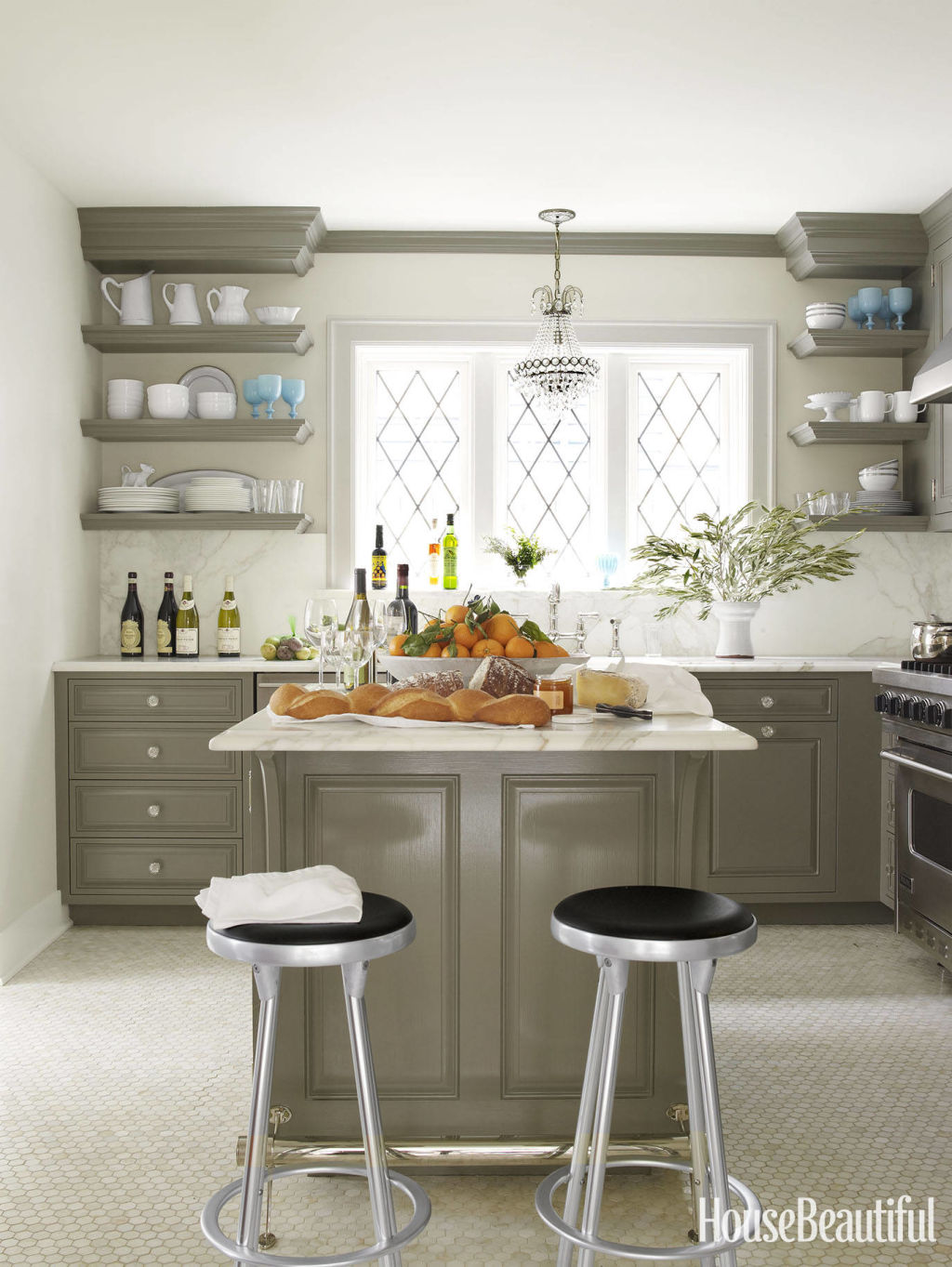 good Kitchen Design Open Shelves #1: House Beautiful