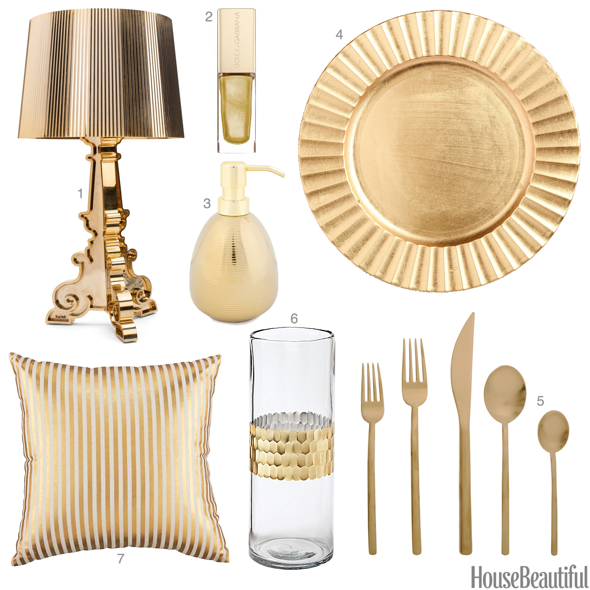 Light gold accessories light gold home decor for Accessories for home decoration