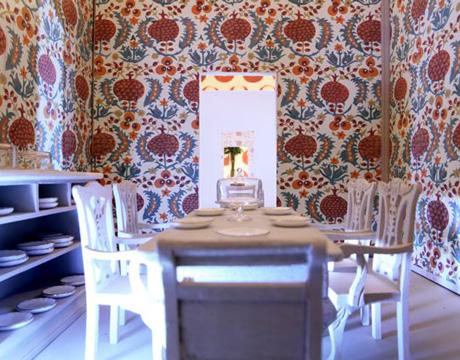 small model dining room showcasing wallpaper. Wallpaper Decor Ideas