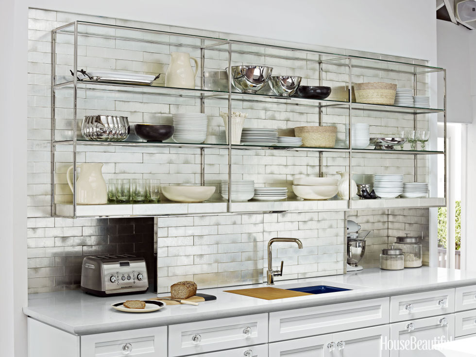 attractive Kitchen Design Open Shelves #2: Metal Cabinets