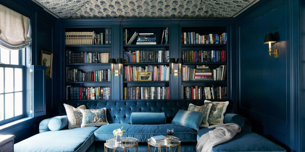 blue velvet tufted sofa - Home Library Design Ideas