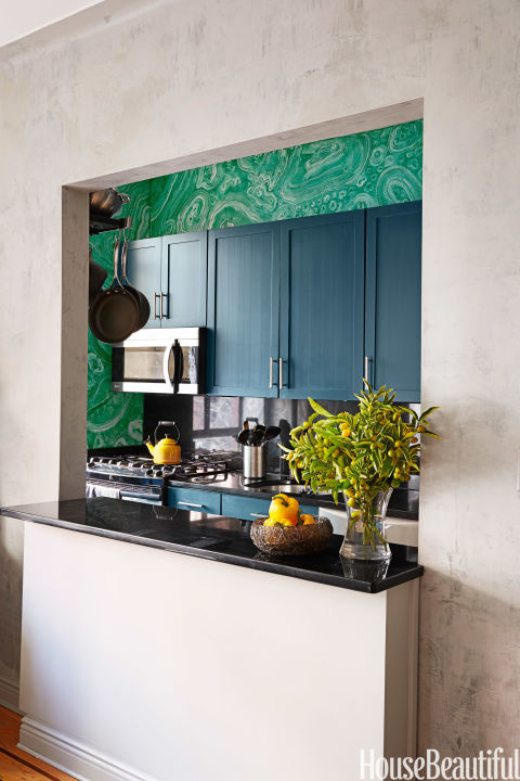 Faux Malachite Galley Kitchen