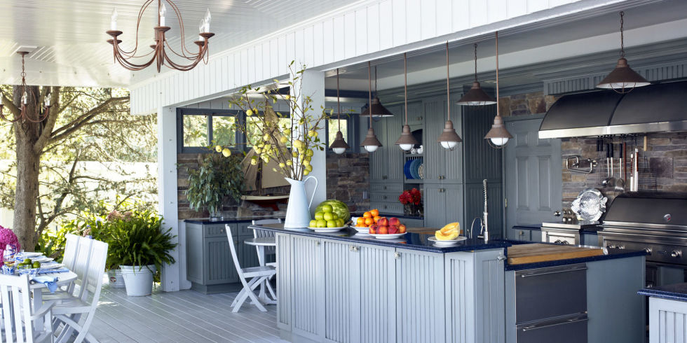 blue outdoor kitchen - Outdoor Grill Design Ideas