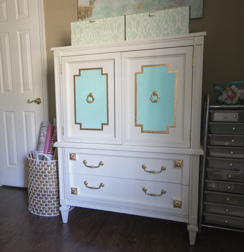 diy kitchen cabinet before amp after a 30 armoire gets a glam new look 3396