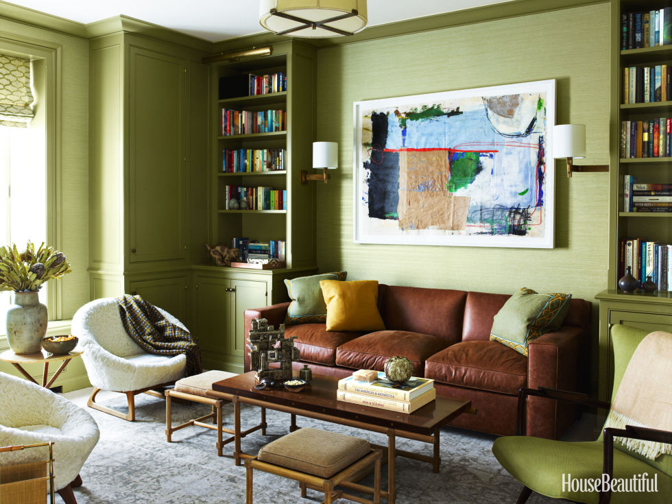 "If your style is more traditional, olive green might be the right move. ""Often the initial reaction is that it's dark, maybe even a little dingy,"" says Gideon Mendelson. ""But don't underestimate it! It has a sophistication that's ideal for millwork and trim, which I took advantage of in a library.""  Get this paint color: Farrow & Ball Olive 13"