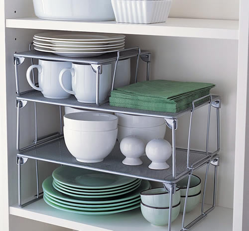 metal shelving inside kitchen shelving to better make use of cupboard space