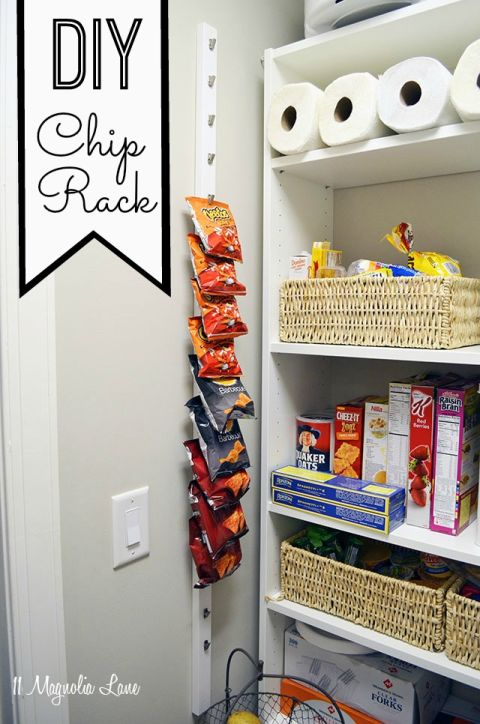 You've probably passed by these nifty racks in the grocery store — by they're just as handy at home and will only cost you a few bucks to create. Get the tutorial at 11 Magnolia Lane »