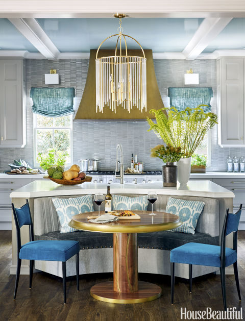 "The presidential election may be over, but the Oval Room can inspire change in more ways than one. ""I call this blue my miracle worker — nothing bests it if you need fast drama,"" says designer Lauren McGrath. No wonder this shade looks right at home in our kitchen of the year.  Get this paint color: Farrow & Ball Oval Room Blue 85"