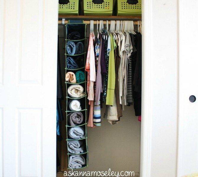 Even thoughshoeorganizersare handy for your sneakers,they can also be used for bulky items like sweaters that you don't want to accidentally stretch out on a hanger (bye, saggy shoulders). See more at Ask Anna »