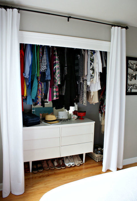 It might look silly, but when youboost the bar higher, you can fit more below your clothes (genius). Then, you can squeezea dresser or shoe rack underneath your hung-up garments. See more at Urban Acreage »