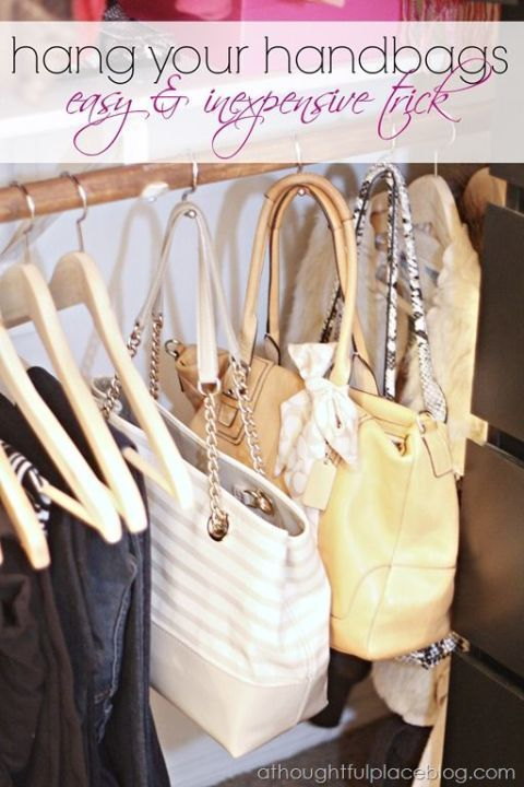 Forget the bathroom: It turns out shower hooks are perfect for hanging purses in your closet on the hanger rod. Even better? This method will ensure handles don't get misshaped. See more at A Thoughtful Place »