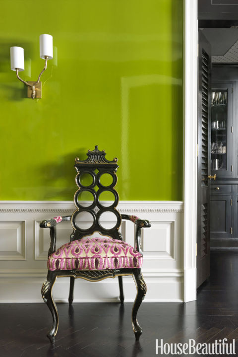 "Pantone's color of the year brings to mind the outdoors, but it works inside too. For a high-impact entry, designer Christina Murphy Pisa turned to a similar shade. ""This acidic apple green, which is sophisticated but not too serious, nails it,"" she says. Get this paint color: Fine Paints of Europe HO1950"